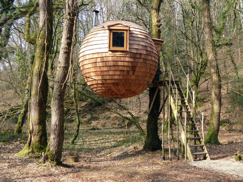 You can rent this hanging treehouse pod for $128 per night