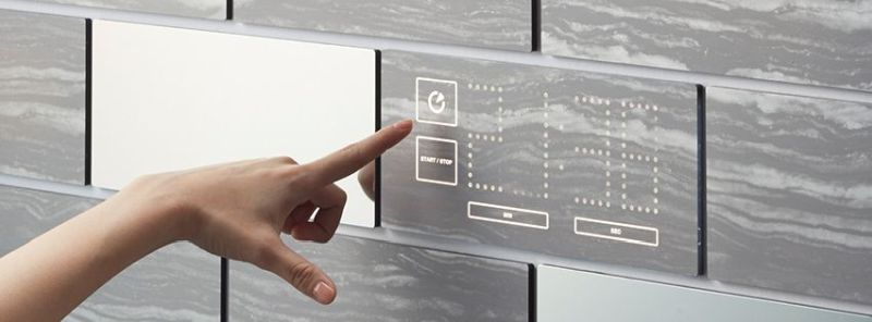 Mui wooden interactive display can control lights, temperature