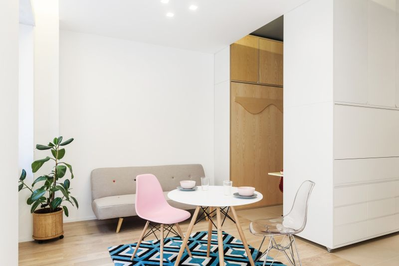 This 295 sqm micro apartment has a multifunctional moving wall