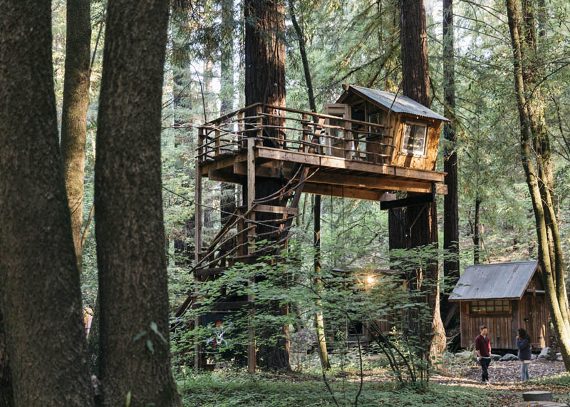 this boho style cabin comes with its own treehouse zip lines - Treehouse