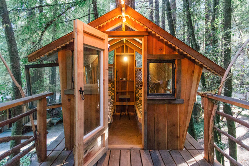 This Boho Style Cabin Comes With Its Own Treehouse Zip Lines