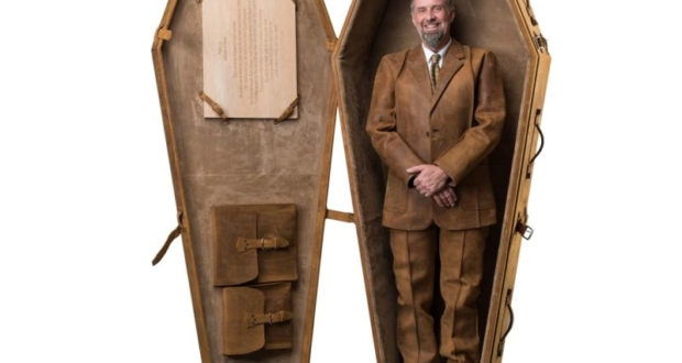 This leather coffin is your coffee table until it's time to go six feet underground