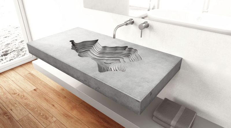 Vacekhas Wall Mounted Concrete Bathroom Sink For Gravelli