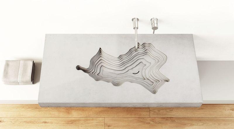 Tomáš Vacekhas' wall-mounted concrete bathroom sink for Gravelli