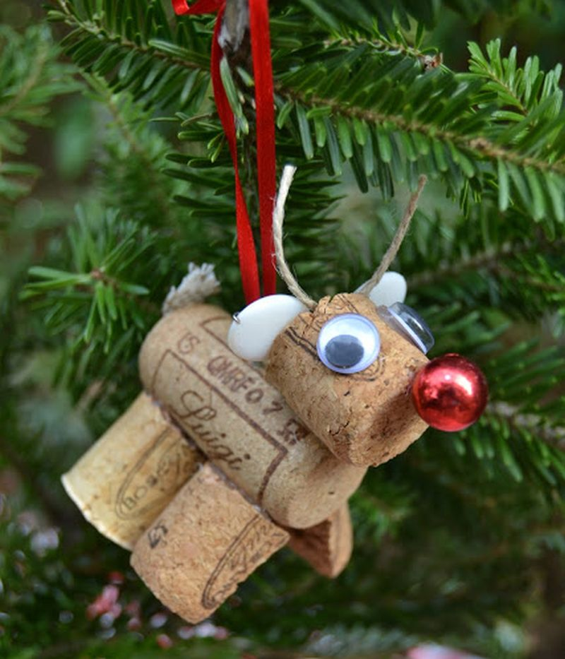 Wine Cork Reindeer Christmas tree Ornament-3