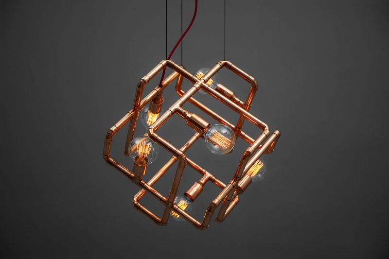 light ceiling pendantlight lights industrial cage lighting copper pendant