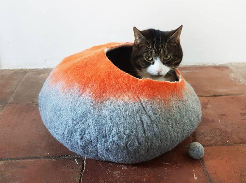 A felt cave for a pet