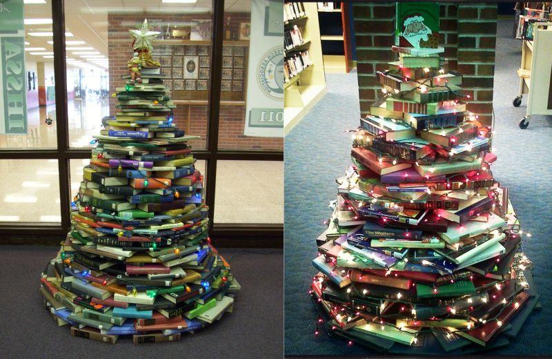 Christmas tree alternative book tree-1
