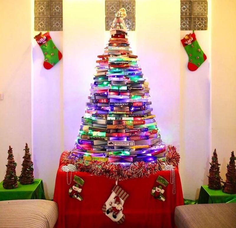 Christmas tree alternative book tree