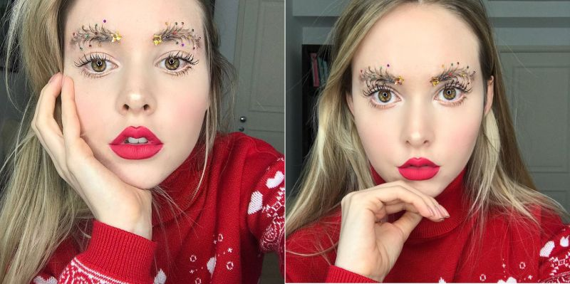 Christmas tree eyebrows-1