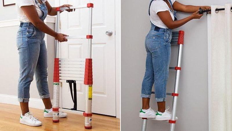 Retractable telescoping ladders
