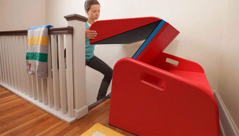 Foldable stair slide