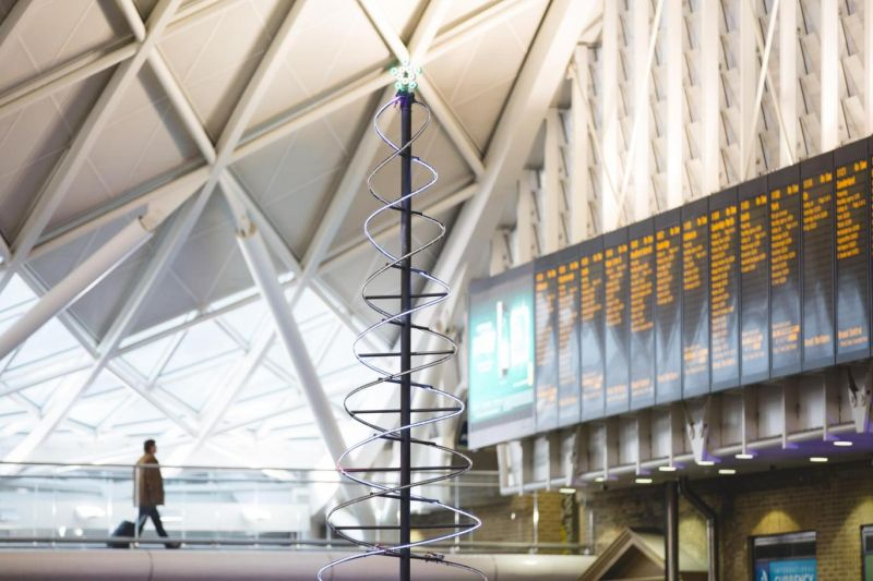 Line Wobbler-inspired Christmas tree at King's Cross station in London