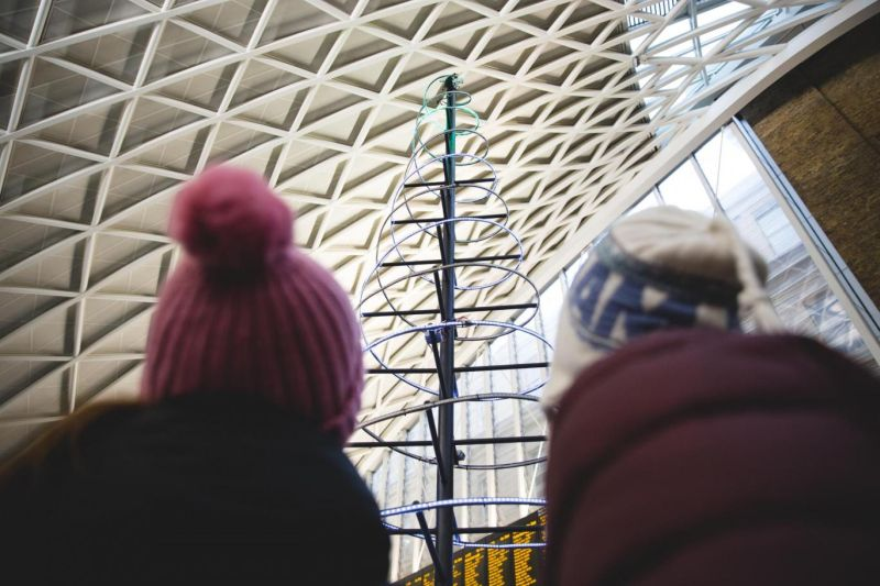 Line Wobbler-inspired Christmas tree at King's Cross station in London