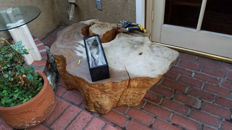 Man builds lake coffee table from a 400-year-old tree trunk