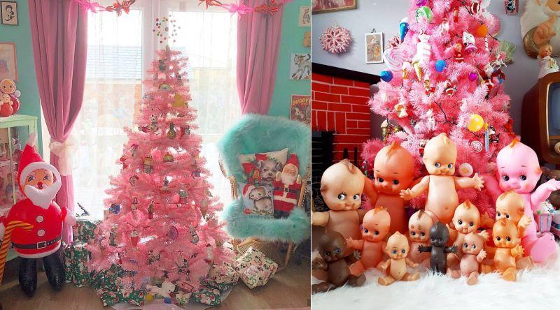 Pink Christmas trees-