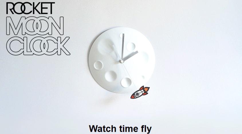 Rocket Moon Clock by Suck UK