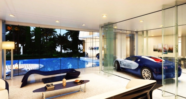 Sleeping right next to your supercar - Inspiring homes with living room parking