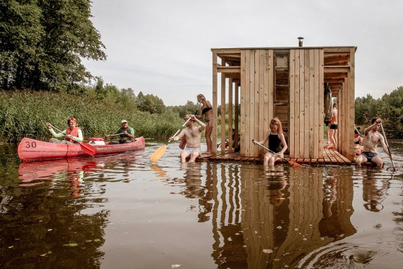 Timber sauna on a Swedish lake