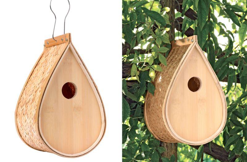 Woven bamboo birdhouse-1