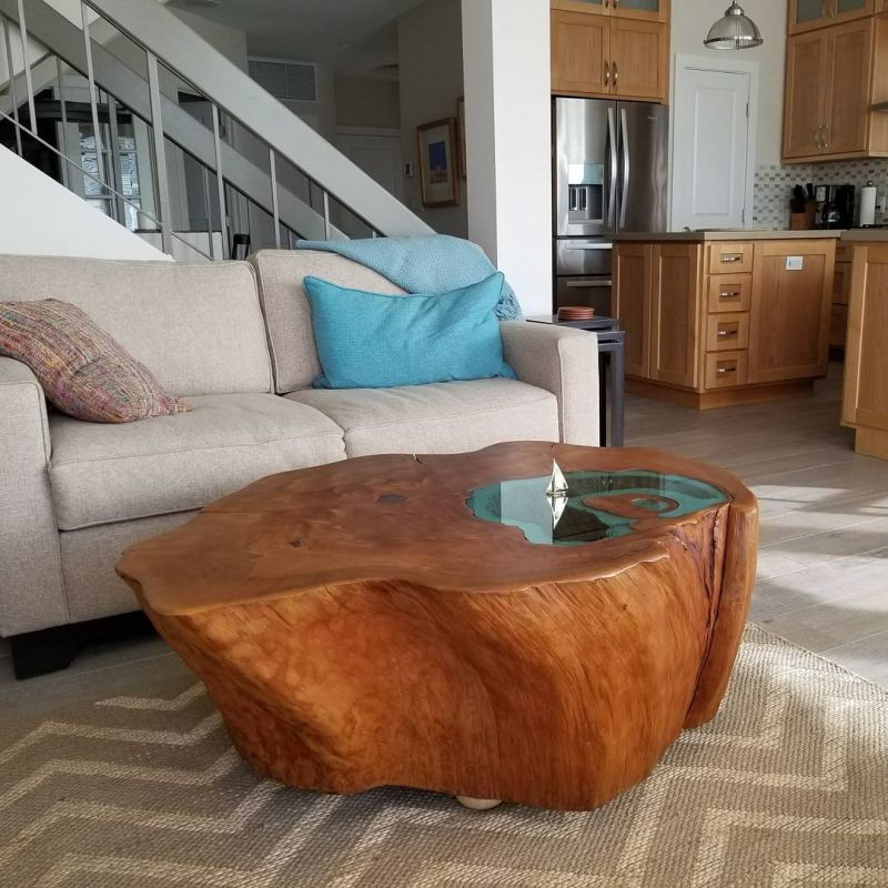 lake coffee table from a 400-year-old tree trunk