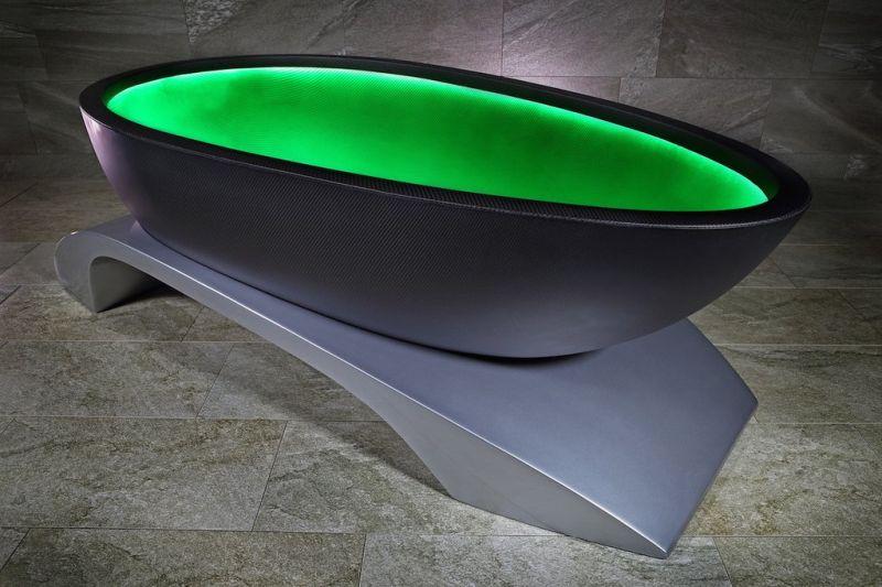 Alvarae\'s Carbon Fiber Bathtub Changes Color to set Your Mood Right!