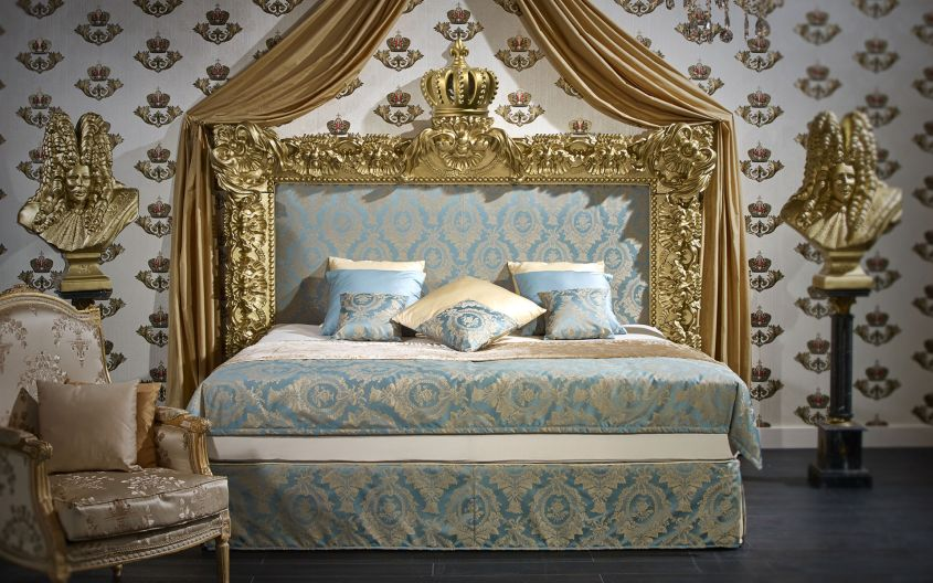 Luxurious box spring beds by Harald Glööckler for a drool-worthy bedroom