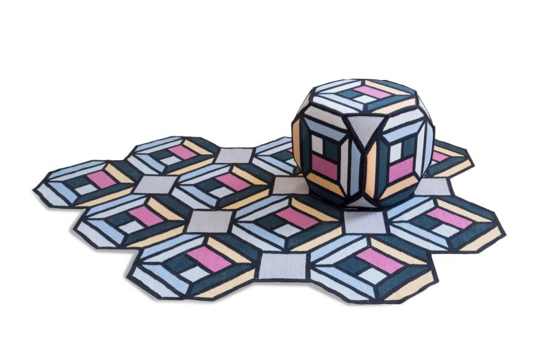 Parquet Modular Rugs by Front Fold up Into Poufs