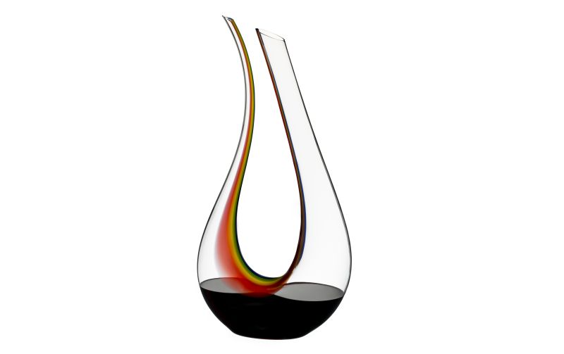 Riedel's mouth-blown Amadeo Double Magnum decanter is back with rainbow colors