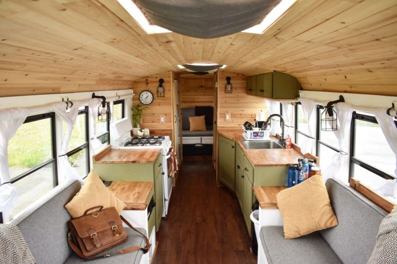 2018 Chevy Conversion Van >> Converted School Bus Home with Rooftop Deck is Perfect for Life on the Road