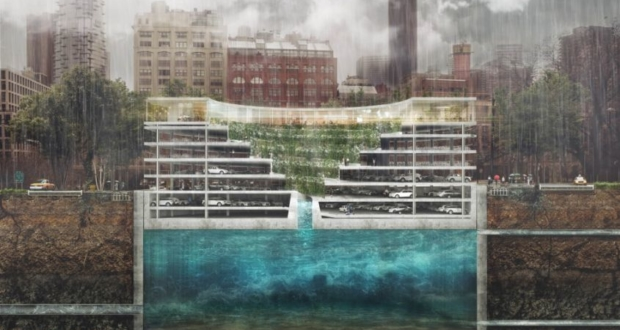 This flood-resistant parking structure rises up with increasing water level in underground reservoir