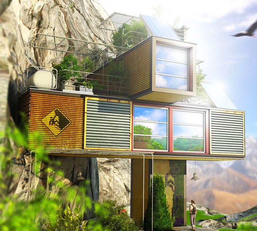 Dachi Papuashivili, Gavleti camp, Lodge House, Gavleti Cam House, Cliff House, Energy-efficient Camp House, Recycled Camp House, Container Base Gavleti Camp