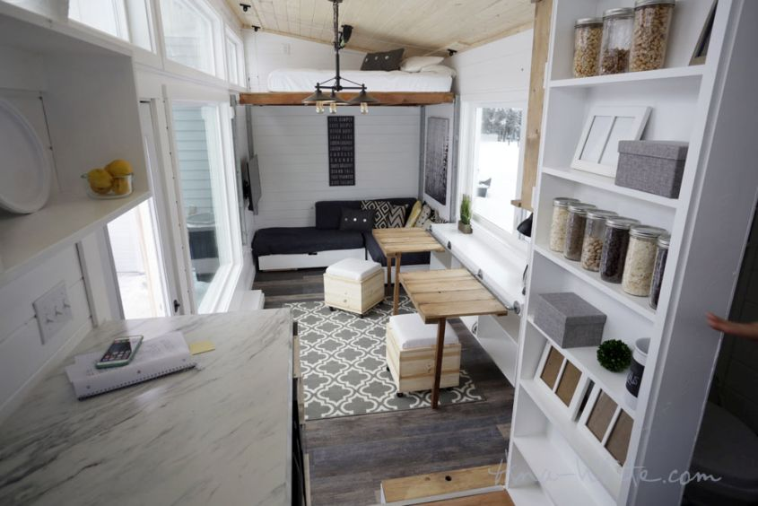 Ana White's open concept tiny house on wheels