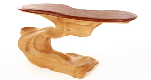 Brishan Mellor's Twister Coffee Table Shows up two Natural Colors of Wood