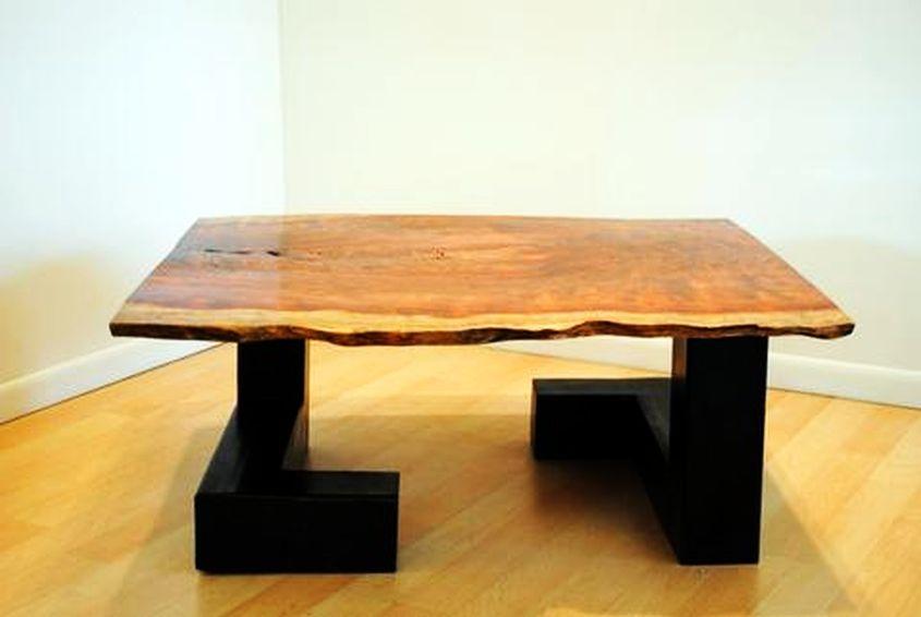 Bubinga slab live edge coffee table by Donald Mee Design