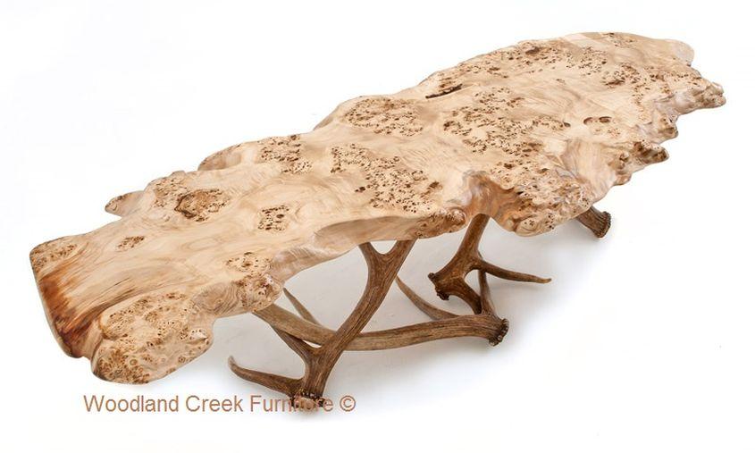 Elk antler live edge coffee table by Woodland Creek Furniture