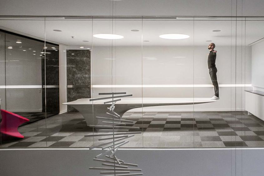 Fabio Gianoli's gravity-defying meeting room table out of KRION