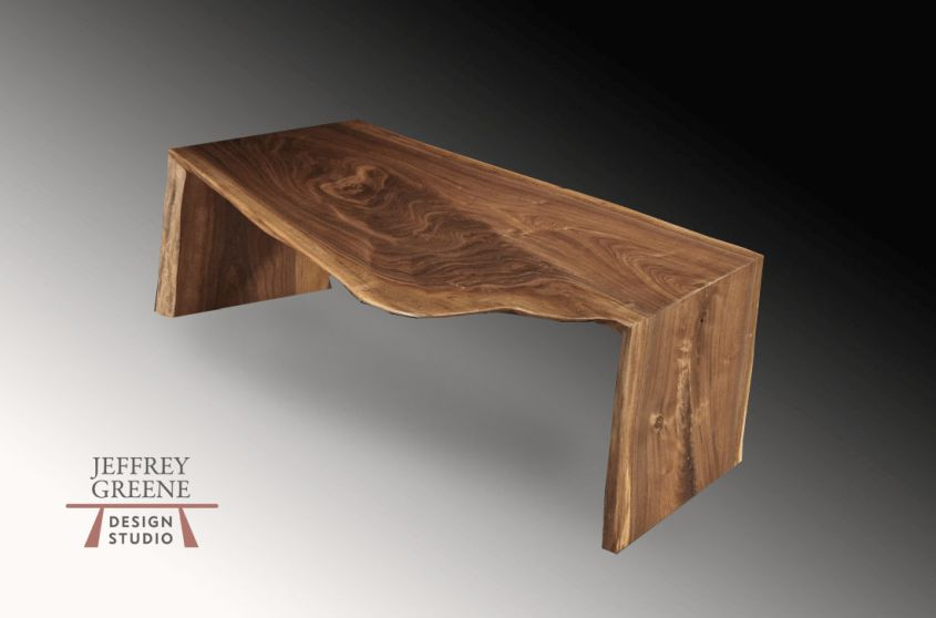 Folded bole live edge coffee table by Jeffrey Greene Design Studio