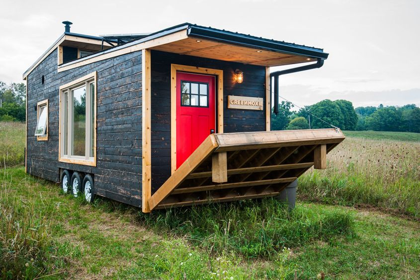 Greenmoxie tiny house on wheels David Shephard, co-founder of Toronto-based Company Greenmoxie and green building consultant Ian Fotheringham have built a contemporary tiny house on wheels with modern, eco-friendly and off-grid features. It features a drawbridge deck that can be electrically lifted or lowered to create additional outdoor space. The dual-pitched black metal roof and spray foam insulation keeps the entire space pleasing and comfortable all year long.