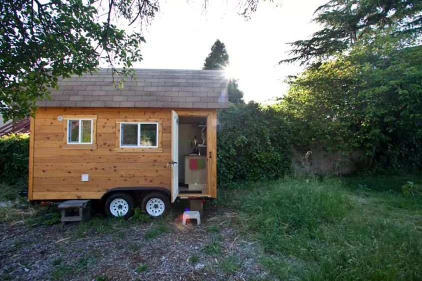 Jesse & Monica's tiny house on wheels in Berkeley
