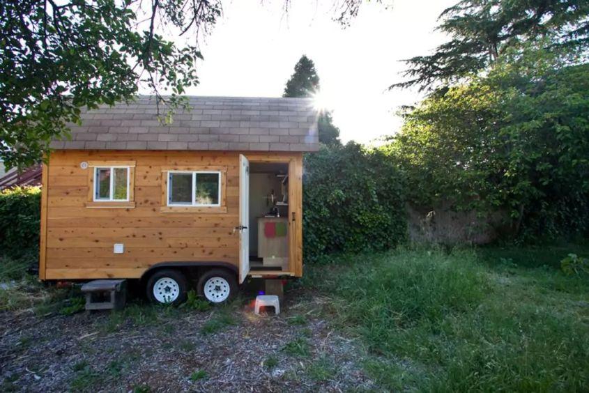 Jesse & Monica's tiny house on wheels in Berkeley