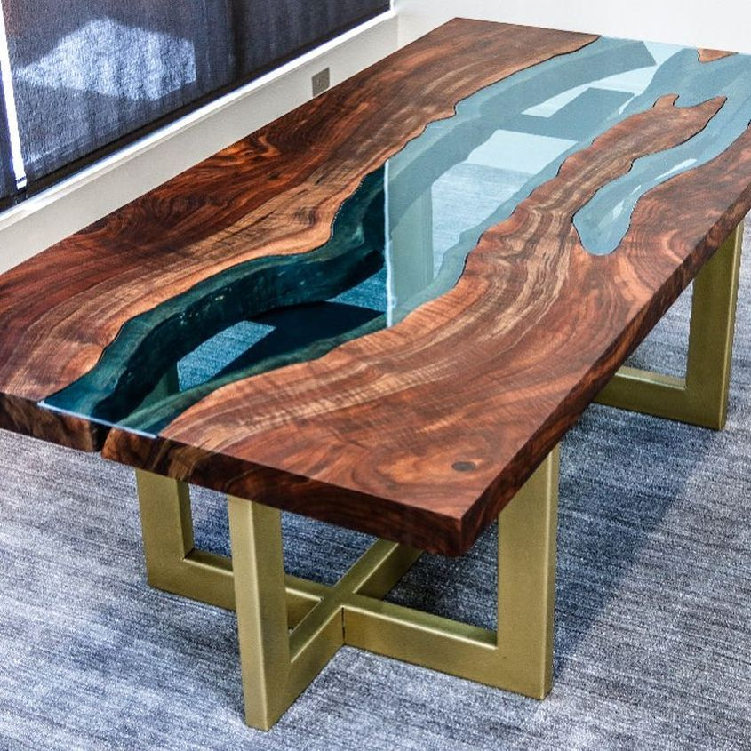 John malecki s diy live edge walnut slab river table for Diy river table