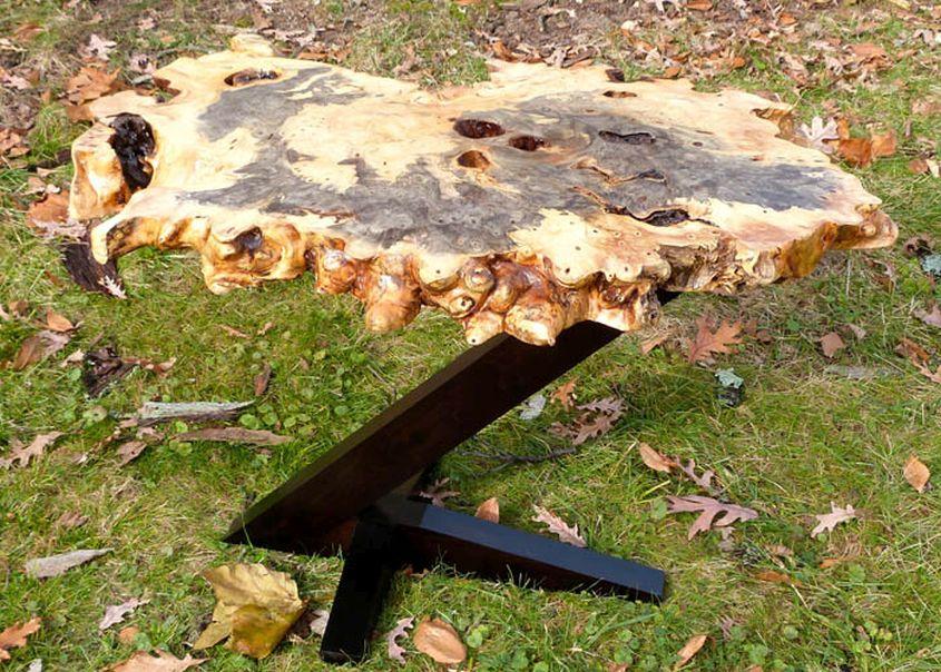 Live edge buckeye burl coffee table by Natural Wood Creations
