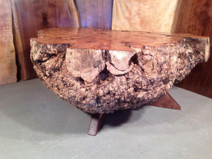 Live edge maple burl coffee table by Paul Dumond
