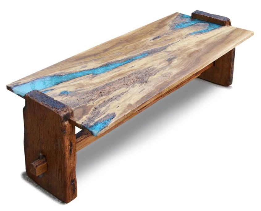 Live Edge Oak Wood Coffee Table With Turquoise Inlay