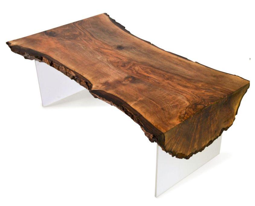Live edge walnut slab coffee table by Frances Bradley