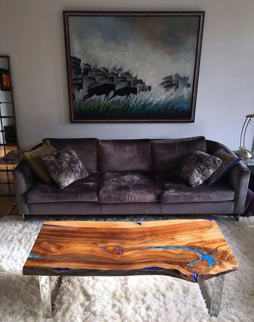 Live edge wood and resin coffee table from Fine Woooden Creations