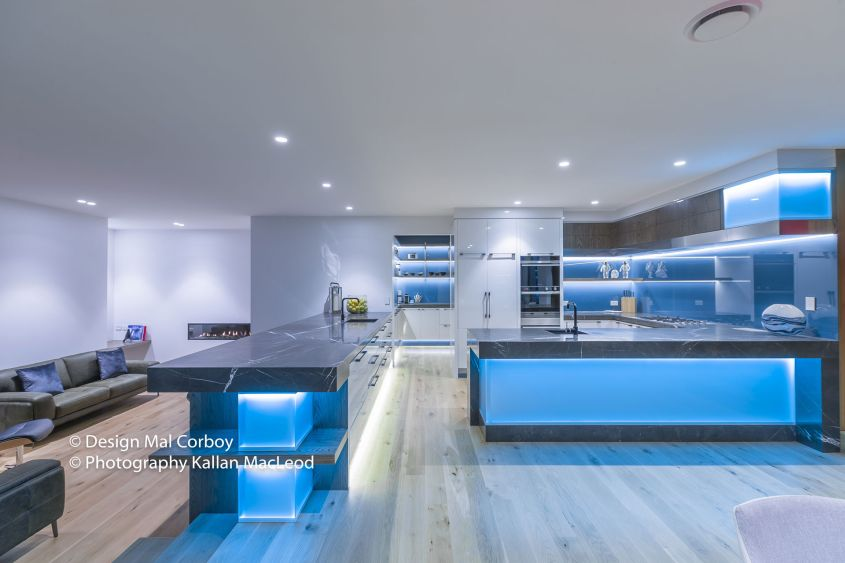 Mal Corboy designs kiwi style kitchen that glows in dark