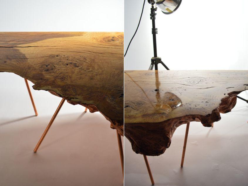 Marilyn live edge burr oak coffee table