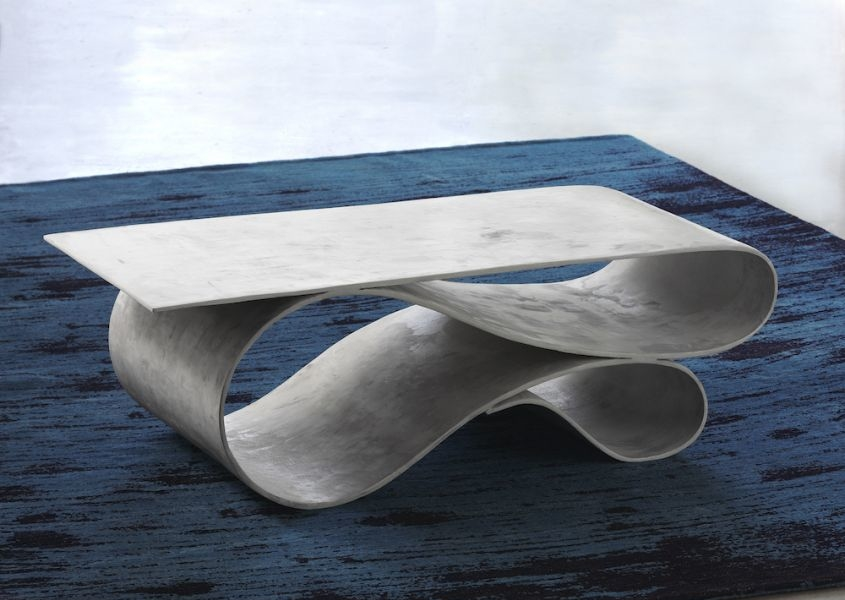 Neal Aronowitz's Whorl table is made of Concrete Canvas